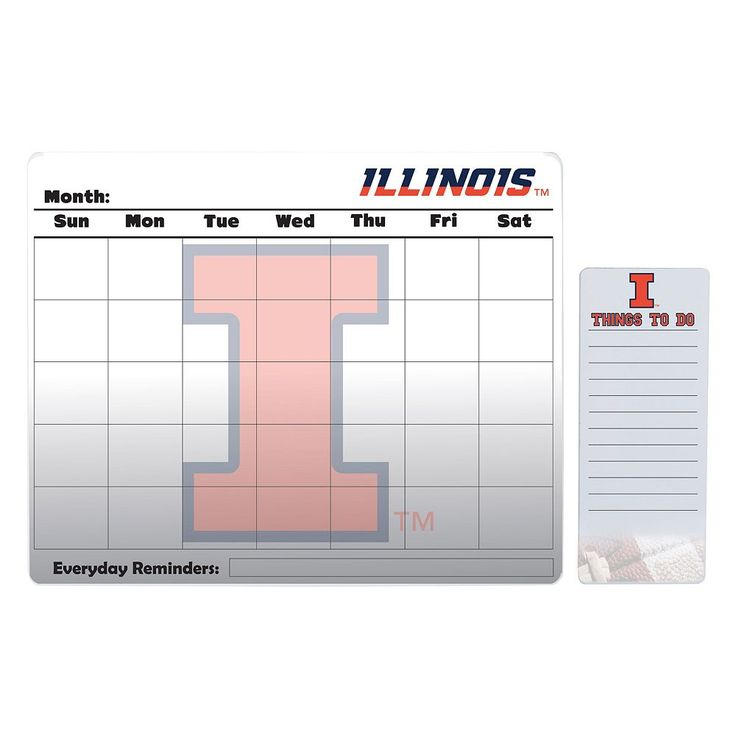 Illinois Fighting Illini Dry Erase Calendar & To-Do List Pad Set, Multicolor