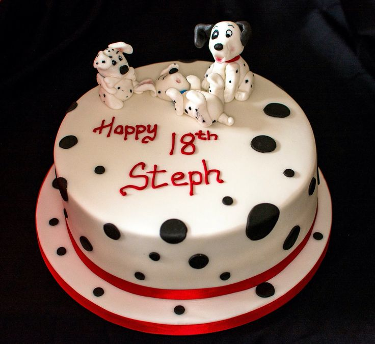 18th birthday Dalmatian puppy cake