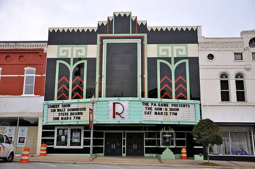 """""""Talladega's Ritz Theatre (circa 1936) is considered one of the best surviving examples of the Art Deco mainstreet theatres of the 1930′s."""" Yes, Art Deco helped even the smallest towns--even in Deep South Alabama--try to look Ritzy!"""