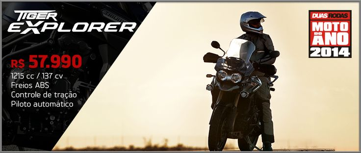 A Tiger Explorer é o modelo da marca inglesa que disputa o segmento das motocicletas adventure touring. A Explorer vem equipada com um motor de três cilindros com 1.215 cc, que produz a maior potência na categoria, 137 cavalos, e 121 Nm de torque. São números que permitem ultrapassagens seguras e muito fôlego em altos giros, características que garantem emoção e conforto ao piloto.