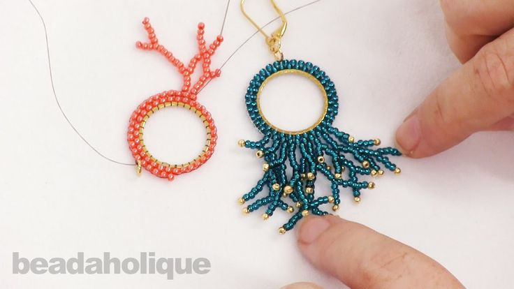 How to Add Fringe (Coral) Around Circular Brick Stitch ~ Seed Bead Tutorials                                                                                                                                                                                 More