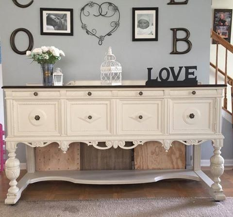 """Do have have a sideboard needing a little love and attention? Look how lovely Christine has made this one look. Painted with General Finishes Milk Paint in 'Linen' with their rich dark Java Gel on the top. All products used are in stock and on the shelves."" - Country Fayre. Home & Garden"