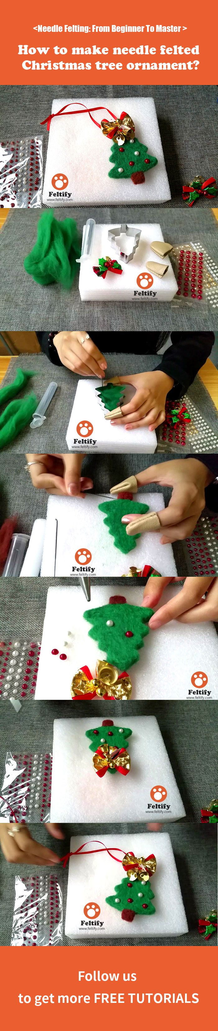 How to make needle felted Christmas tree ornament?