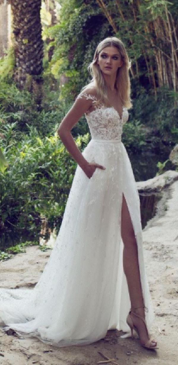 Custom Made Admirable Lace Lace Boho Off The Shoulder Cap Sleeves Long Country Slit Wedding Gown
