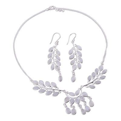 Moonstone jewelry set, 'Falling Leaves' - Moonstone and Sterling Silver Jewelry Set Necklace Earrings (image 2c)