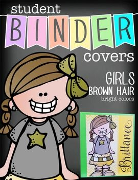 LOVE THESE!  Personalize each student's binder/folder cover.  Check out all of the BRAINY BUNCH - Student Binder Covers - boys, girls, blonde, black, red, brown, glasses, no glasses, etc.