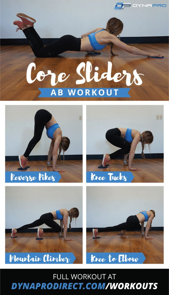 DynaPro Core Sliders Ab Workout  Train your abs with a variety of exercises and this workout guide for use at home or at the gym!