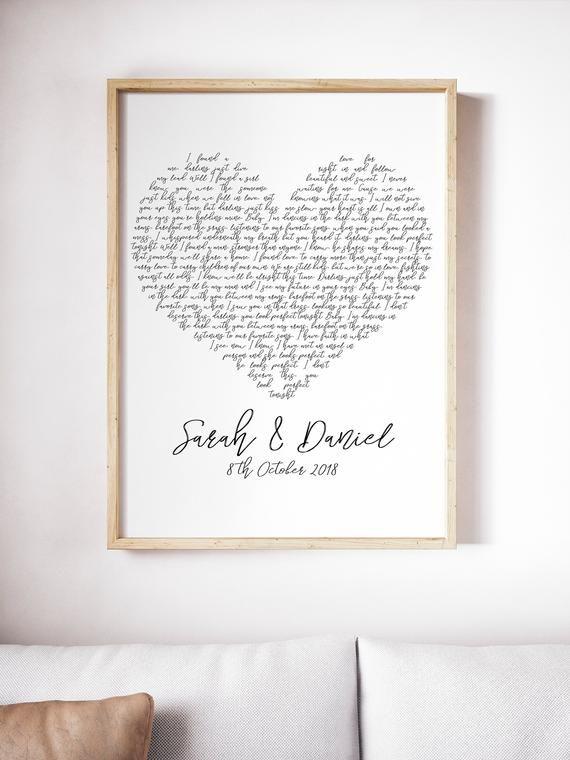 Any Song Lyrics Print White Heart Valentines Birthday Anniversary Gift Present