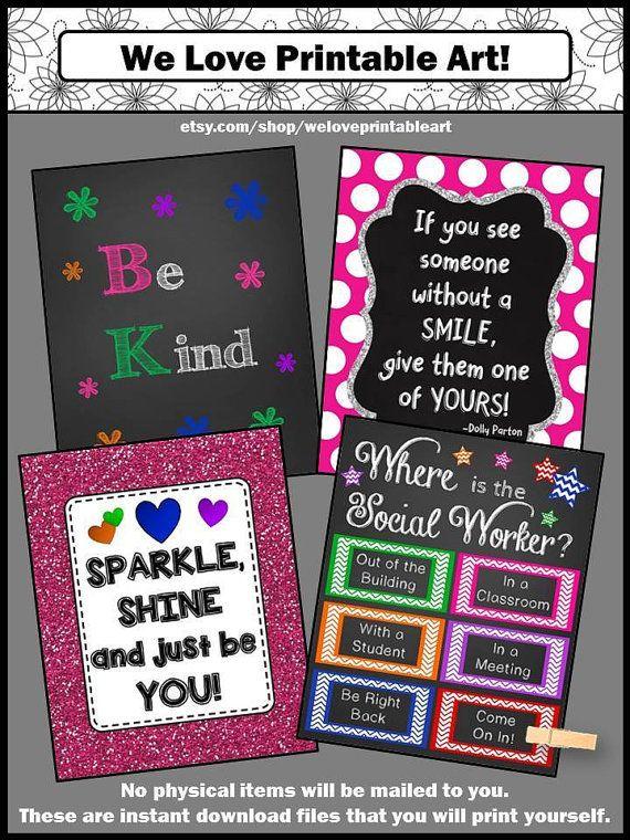 School Social Worker Gift, Social Work, Door Decoration, Office Door Signs, Printable Posters