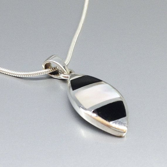 Check out Lovely pendant Onyx and Mother of pearl with Sterling silver  chain - inlay work - gift idea on gemorydesign