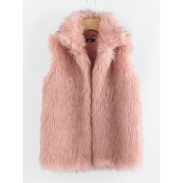 SheIn(sheinside) Collared Open Front Faux Fur Vest ($36) ❤ liked on Polyvore featuring outerwear, vests, pink, fake fur vests, faux fur collar vest, sleeveless waistcoat, faux fur waistcoat and pink vest