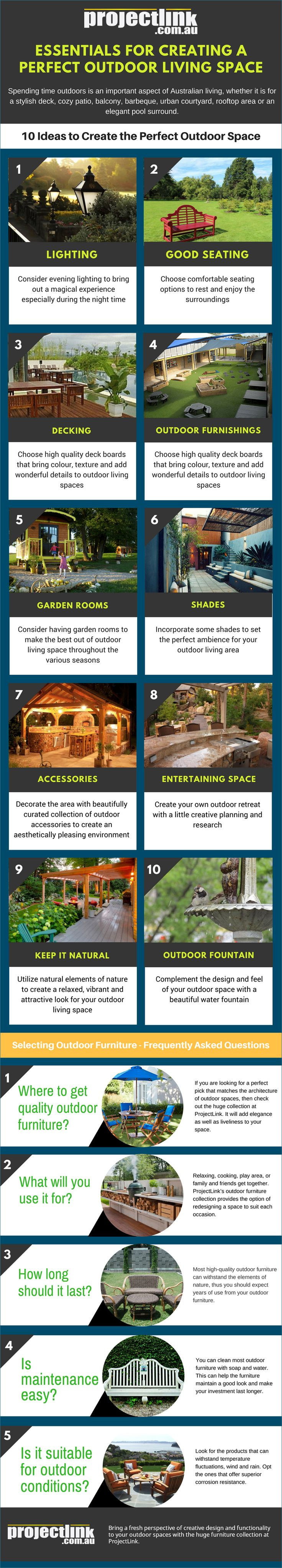With the change of seasons comes the opportunity to spend more time outside with family and friends. If you are looking for ideas to create the perfect fall friendly outdoor living space, then you have come to the right place. The ideas in this infographic will help you spruce up your outdoor living area and create your own cozy retreat for fall.