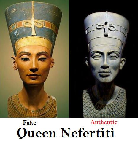 NEFERTITI BUST IS FAKE The archaeologist who claimed to have found the bust was actually going to reproduce a new sculptor of the Queen wearing a necklace he knew she had owned. He was also experimenting with colour tests with ancient pigments found at the digs. After completing the bust in 1912, the copy was admired so much by a German Prince; the Archaeologist couldn't sum up the courage to tell the Prince it was a fake. French Archaeologists present at the site never mentioned the…