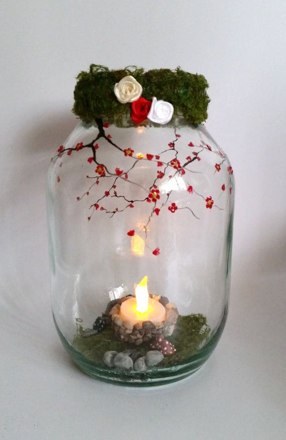 Hand painted Fairy wishes Lantern, candle holder, light jar, night light, wedding centrepiece, MADE TO ORDER.