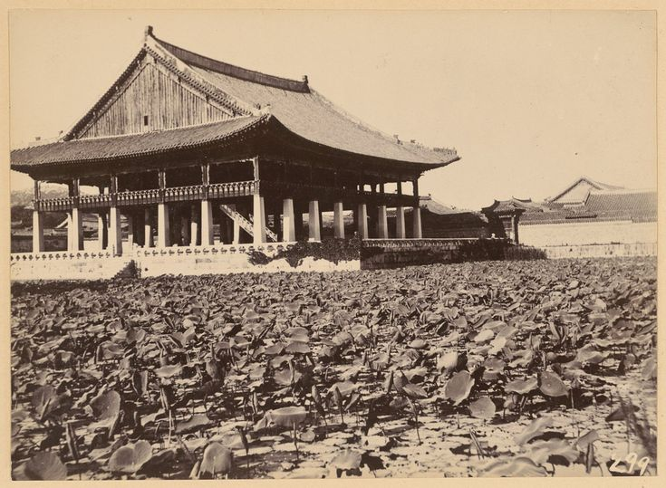"""""""Seoul: Lily pads"""" ca. 1904. 'Kyonghoeru' (Happy Meetings Hall) in Kyongbok Palace. First constructed during the reign of Taejong (3rd king, 1400-1418), was named by the king's eldest son, prince Yangnyong, who inscribed plaque. Destroyed by Japanese in 1592 and restored in 1867 by the regent. 48 supporting pillars: inner are round and the others square (symbolizing Heaven and Earth). Collection: Willard Dickerman Straight and Early U.S.-Korea Diplomatic Relations, Cornell University Library"""