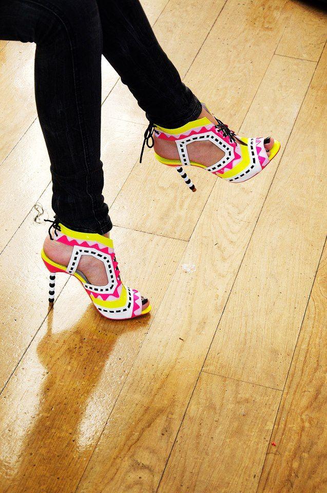 Yellow Pink White Black Heels. Black Leggings. Black Toes. Festive Summertime Shoes by Sophia Webster