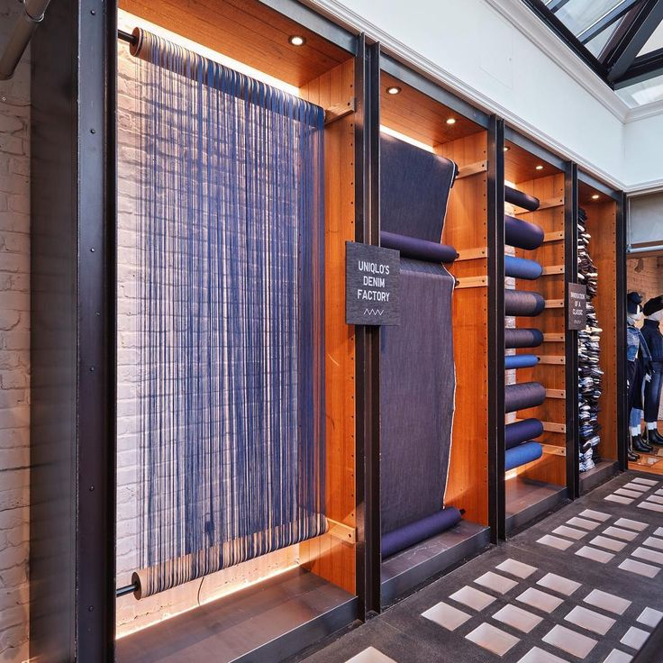 "UNIQLO DENIM FACTORY, Oxford Street, London, UK, ""Showcasing the mechanisms of…"