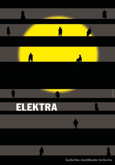German theater poster. By Gunter Rambow (born 1938), Elektra, Badisches Staatsteather, Karlsruhe.