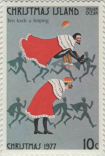 ◙ Christmas Island, Postage Stamp, The Twelve Days of Christmas, Lords a Leaping. ◙