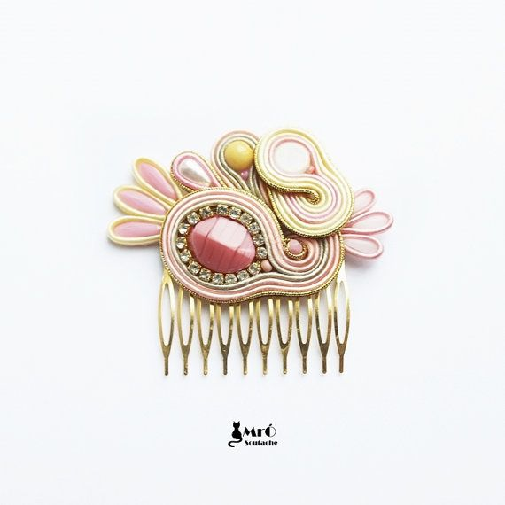 Cute and original hair comb soutache by MrOsOutache on Etsy