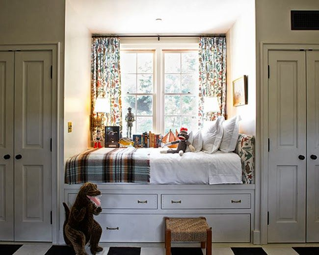 Great way to insert a bed and extra closets into guest room while keeping floor space clear for other purposes.