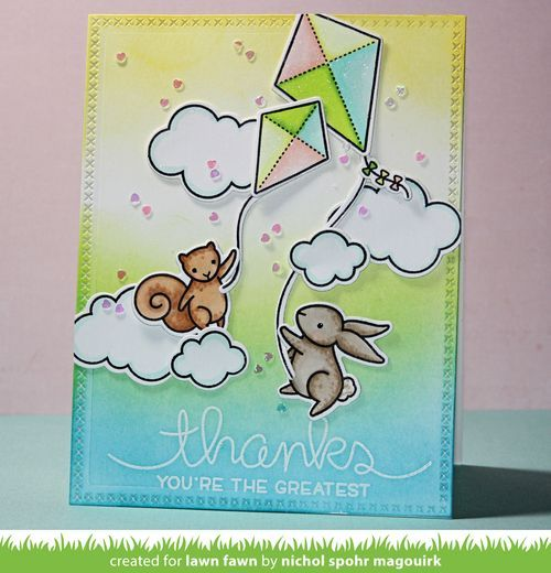 Thank You card featuring Lawn Fawn Yay Kites and Big Scripty Words stamps and dies. #lawnfawn #yaykites #bigscriptywords