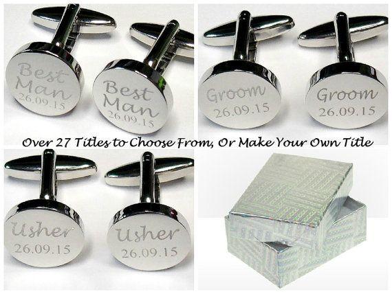 Wedding Cufflinks, Gift Boxed, Engraved, Personalised Date, Groom cufflinks, Bride Cufflinks, best man, usher, groom, ROUND (KS1A) SIL