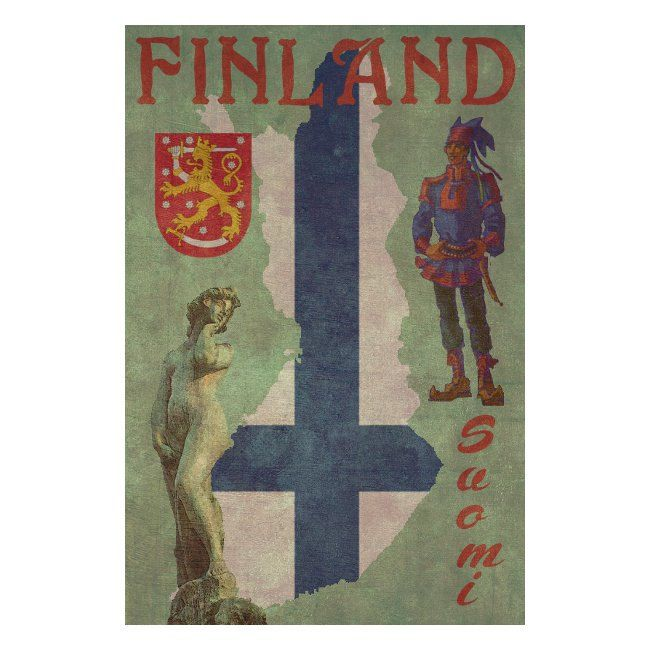 FINLAND 1F Handmade Leather Wall Hanging by leathertravelart