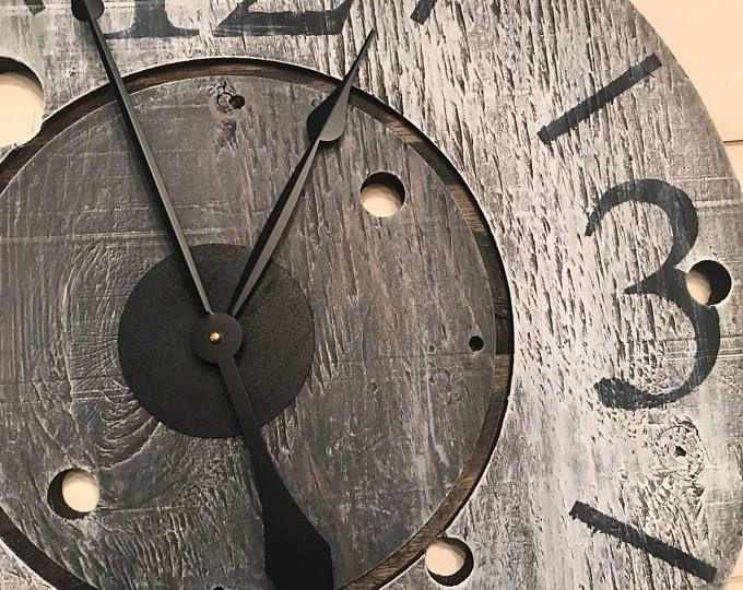 Oversized Wall Clock, Rustic Clock, Farmhouse Clock, Gray Clock, Industrial Clock, Big Clock