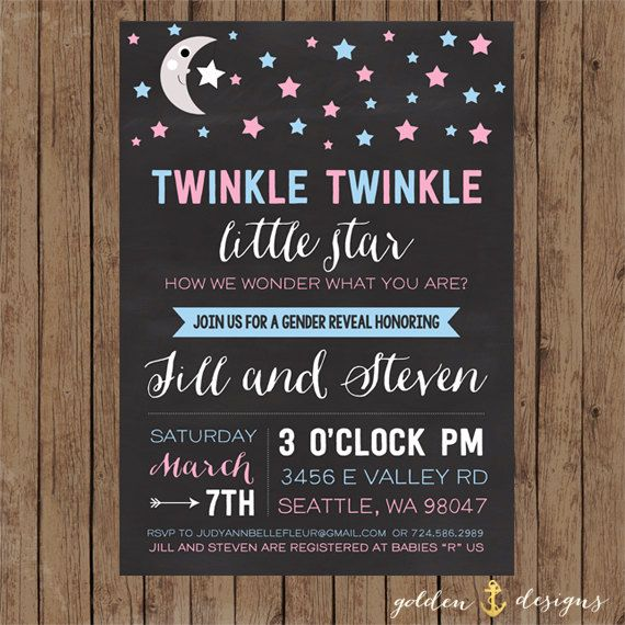 Twinkle Twinkle Little Star! Gender Reveal Baby Shower Invite: Blue and Pink on Etsy, $10.00