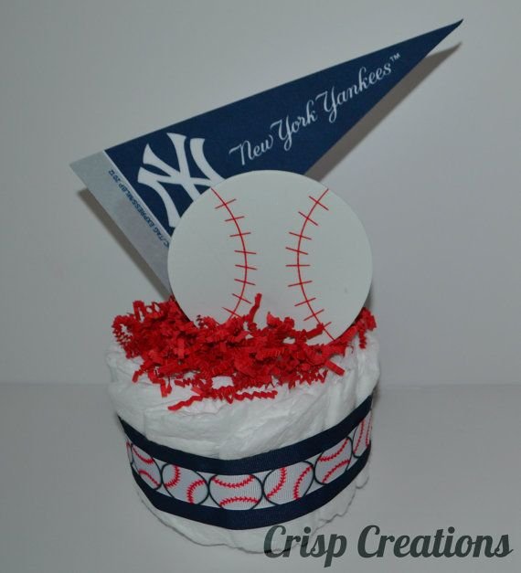 Super cute, but I can def make this one my own!! SOO Perfect for the centerpieces!! New York Yankees baseball diaper cake Baseball by CrispCreations1, $12.00