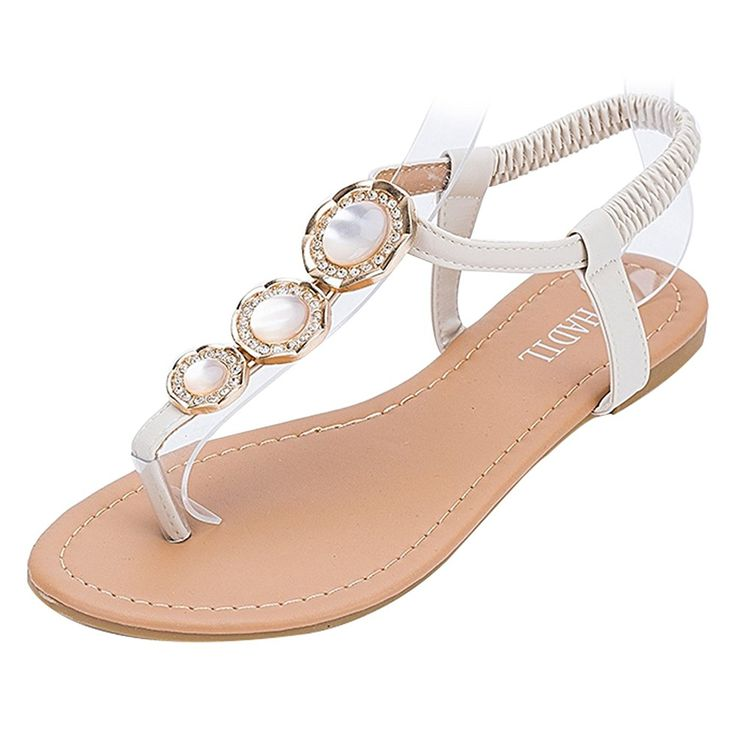 Ladies Flip Flops Artificial PU Leisure Flat Crystal Sandals Shoes -- You can find more details by visiting the image link.