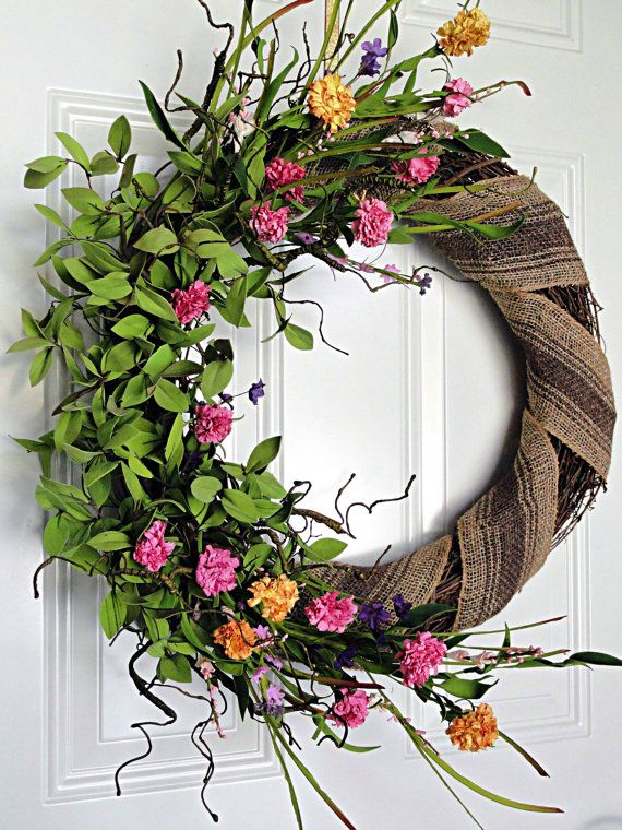 Spring Flowers and Burlap Wrapped Wreath Front Door Spring Summer Easter Wreath