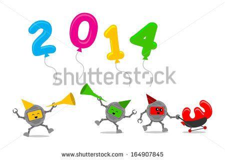 Illustration cartoon character clip art of new year celebration 2014
