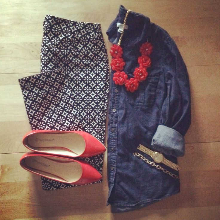 Old Navy pixie pants, beaded rose necklace, red flats, chambray, workwear, professional, office outfit, arm party | IG: @whitecoatwardrobe