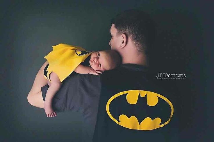 Batman dad and baby newborn photo