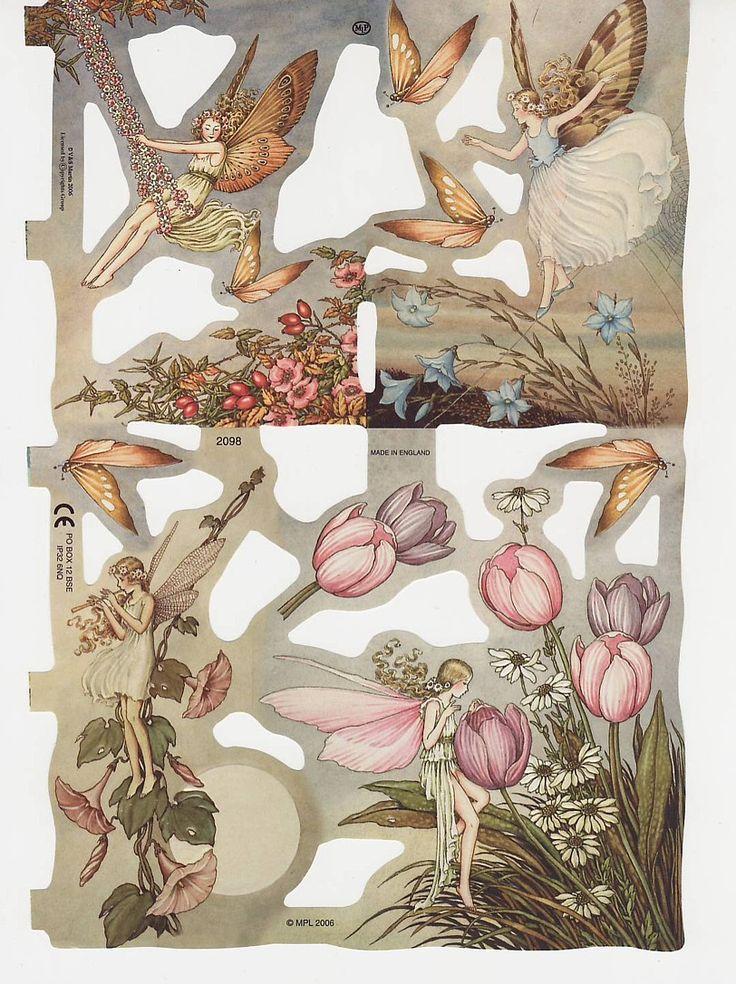 Vintage Die Cut Scrap Flower Fairies MLP (Image1)