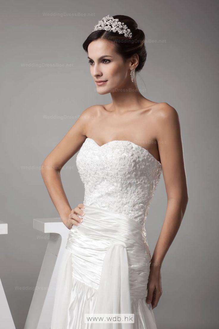 Sweetheart Fully Beaded Appliques Bodice Ruffle Ffap Detail Wedding Dress