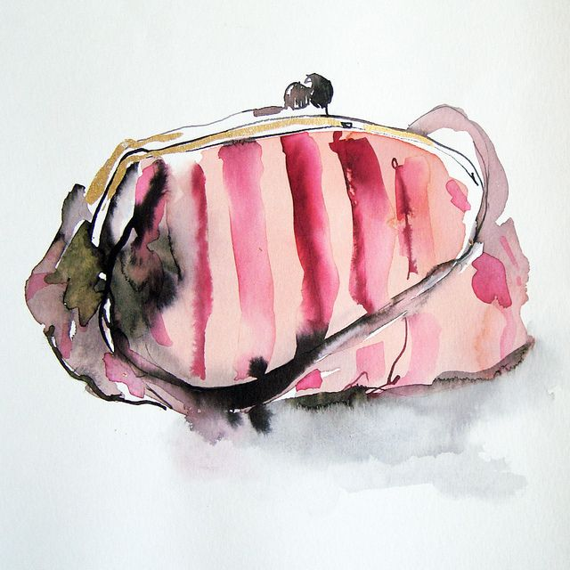 striped bag by bridget davies, via Flickr.  Two of my favorites......purses and watercolor