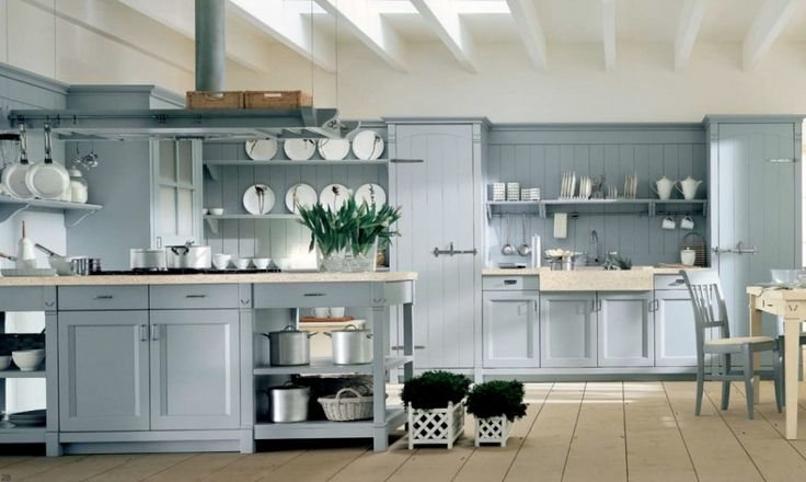 Minacciolo Country Kitchens Design from Italian:Light Blue Country Style Kitchen Decor With White Plate And Hanging Rack For Appliances