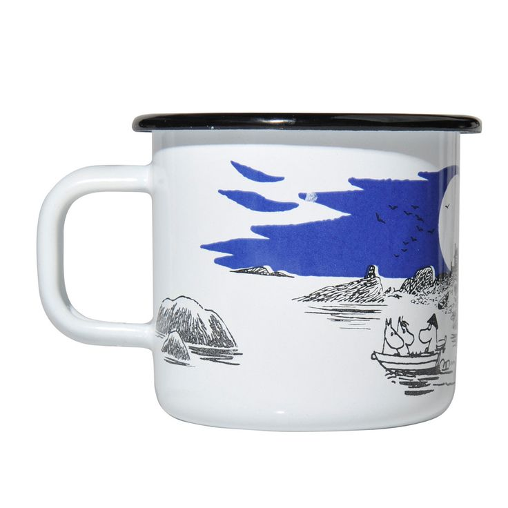Beautiful archipelago enamel mug in white, with black and blue details, features the Moomin family at sea. Muurla combines design with durability in this retro Moomin enamel mug.