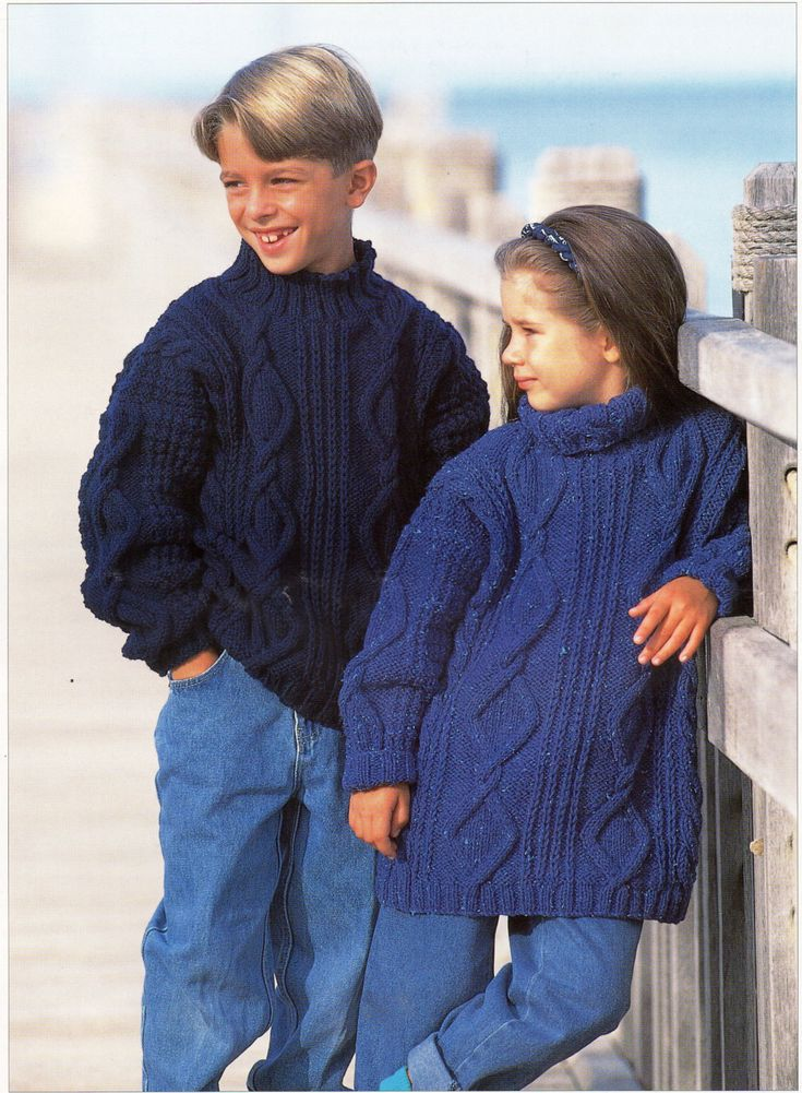 childrens aran sweaters knitting pattern cable sweaters aran jumpers 24-30inc...