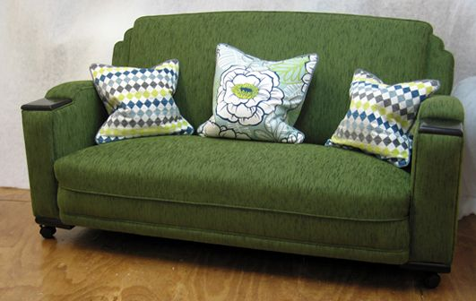 Art deco couch (timber armrest detail) with cushions to match - Living Room, Wellington