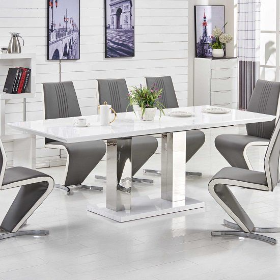 Monton Extendable Dining Table Large In White High Gloss Only In