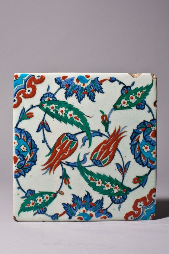 Iznik tile Turkey, Istanbul Period of Rustem Pasha, circa 1561  25.3 x 25 cm; earthenware