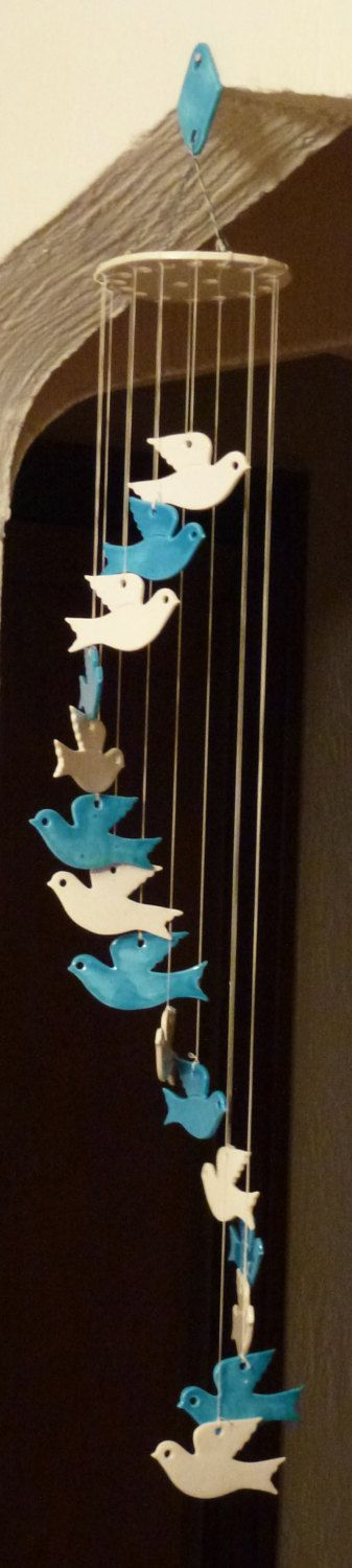 Blue White Flying Bird Turtle Peace Doves Ceramic Camarillo California Handcrafted Art Hanging Spiral Mobile Wind Chime by BirdsVintageMedley on Etsy