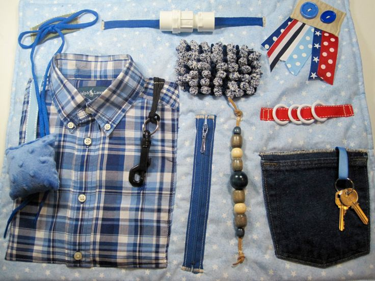 Masculine Blue Plaid Shirt on Blue Fidget, Sensory, Activity Quilt Blanket by TotallySewn on Etsy