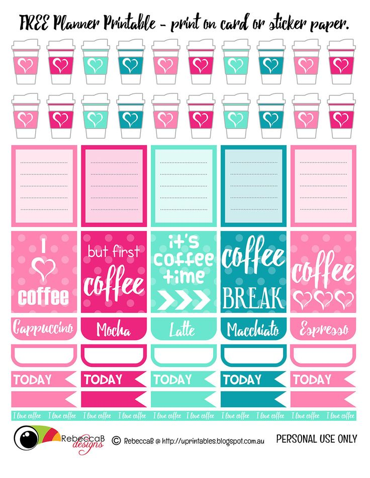 free printable planner stickers coffee print these planner elements onto sticker paper or just - Cute Things To Print Out