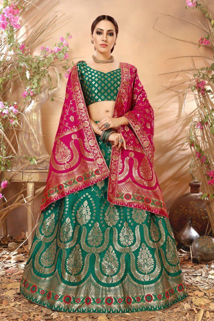 6e07752fa3 Green Jacquard Silk Designer Lehenga Choli (Semi-Stitched ...