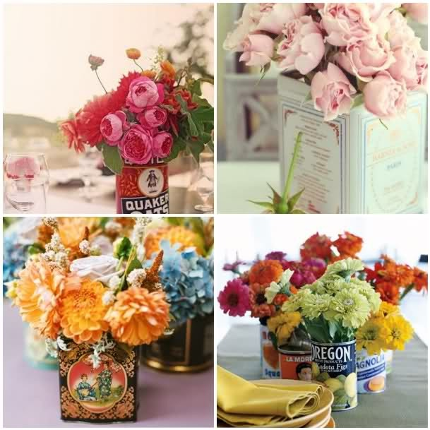 Vintage tins and flowers: Teas Tins, Inspiration, Vintage Tins, Vintage Teas, Glasses Bottle, Flower